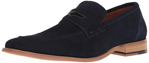 STACY ADAMS Men's Colfax Moc-Toe Slip-On Penny Loafer, Navy Suede, 11.5 M US