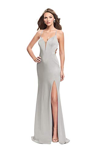 (La Femme 25398 Plunging Sweetheart High Slit Jersey Gown in Silver)