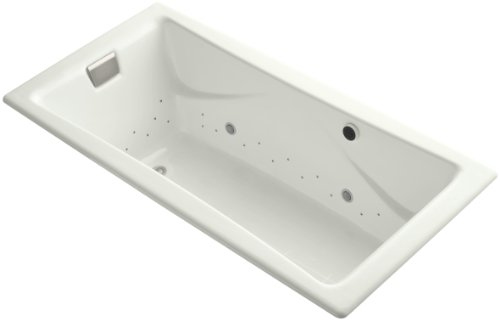 Kohler K-865-GCBN-NY Tea-For-Two Bubblemassage 6Ft Bath with Vibrant Brushed Nickel Airjet Finish and Chromatherapy, Dune