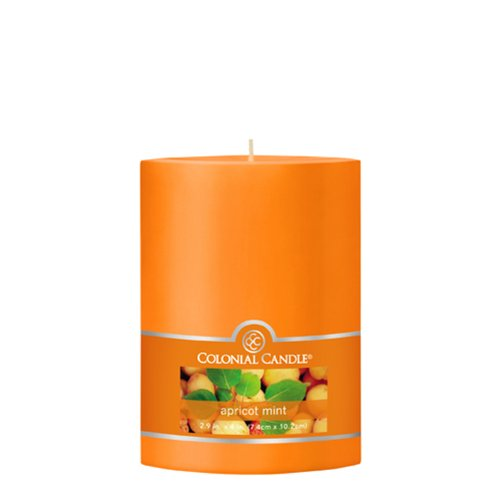 Colonial Candle Apricot Mint 3-Inch by 4-Inch Smooth Pillar