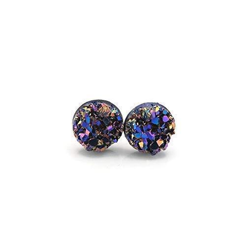 8mm Purple//Blue Faux Druzy Stone Earrings Hypoallergenic Metal-Free Plastic Posts