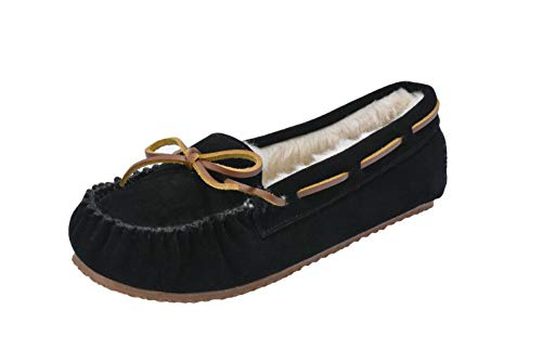 MOC PAPA Women's Black Cow Suede Moccasin Slip On Flat Shoes Size 10 (B) M US