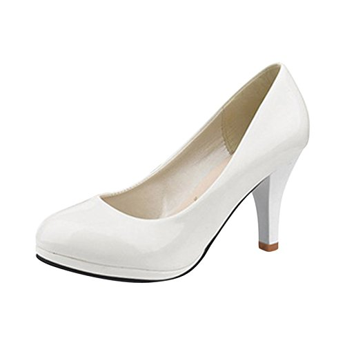 New White Patent Platform (Maritchi Womens Low Platform Heels Comfort Pumps 3 In Heel Simple Shoes(6.5(M) US, White))