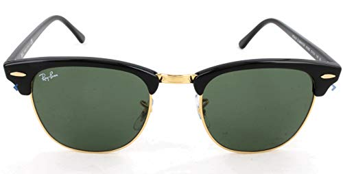 Ray-Ban RB3016 Clubmaster Square Sunglasses, Black on Gold/Green, 51 mm (Ray Ban Aviator Top Gun)
