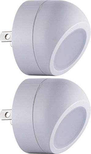 Directional Night Led Light - Energizer Ideal LED Nightlights (2 Pack), 360° Rotation, Light Sensing, Auto On/Off, Directional Spotlight, Soft White, 40293