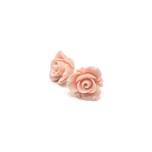 Plastic Post Rose Bud Earrings for Metal Sensitive Ears, 13mm Matte Pale Pink