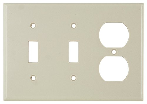 Leviton 78021 3-Gang 2-Toggle 1-Duplex Device Combination Wallplate, Standard Size, Thermoset, Device Mount, Light Almond
