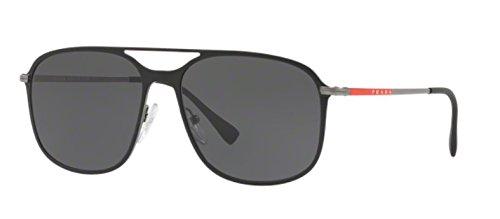 Prada Sport PS53TS DG0/5S0 Black Rubber/Gunmetal PS53TS Square Pilot Sunglass ()