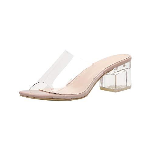 Women's Square Heeled Buckle Strap Sandals,YuhooSUN PVC Transparent Wedding Slipper Shoes Casual Comfort Slip On Khaki ()