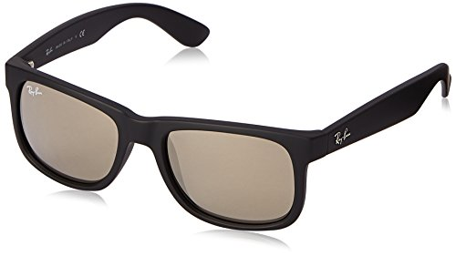 Ray-Ban RB4165 Justin Rectangular Sunglasses, Black Rubber/Gold Mirror, 51 mm (Best Ray Ban Sunglasses For Men)