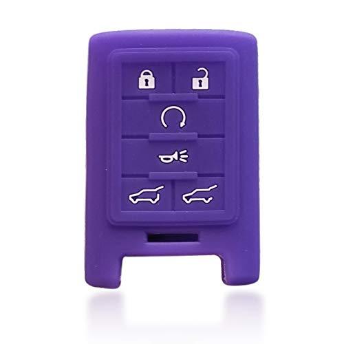 Massimiliano Incas Dobrev 6 Buttons Silicone Rubber Case Protector Key Fob Smart Car Remote Holder for Cadillac Escalade 2007-2014 (Purple) ()