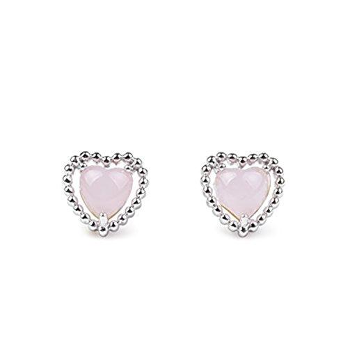 Sterling Silver Rose Quartz Stone Pink Heart Shaped Beaded Design Stud Earrings