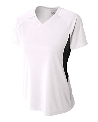 White Women's Small Performance Color Block V-Neck Shirt/Uniform