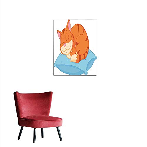 longbuyer Wall Sticker Decals Cat Cartoon Sleeping on a Pillow Mural 20