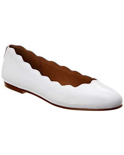 Flats French Sole Leather - French Sole Razor Leather Flat, 8, White