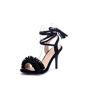 Sandalias Primavera Verano Otoño Zapatos Club polipiel parte & Noche Casual Stiletto talón Lace-up Borla Rosa Negro Gris rojo Black