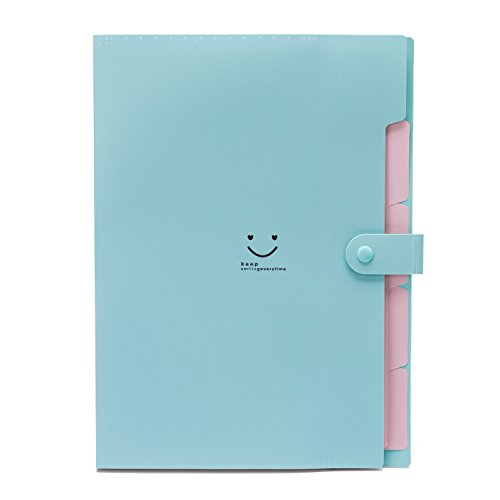 Expandable Portable Hand-Held Accordion File Document Folder Cute Smiling Face Student File Organizer A4 and Letter Size 5 Pockets (Green)