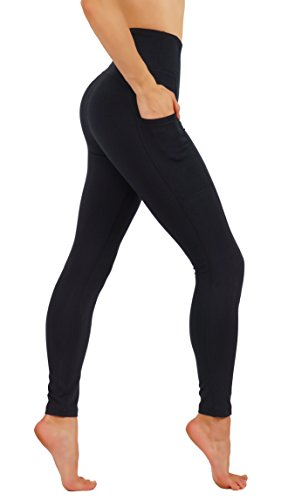 CodeFit Yoga Pants Dry-Fit High Waist with Both Side Deeps Pockets Full Length Workout Running Leggings (L USA 12-14, CF100-BLK) ()