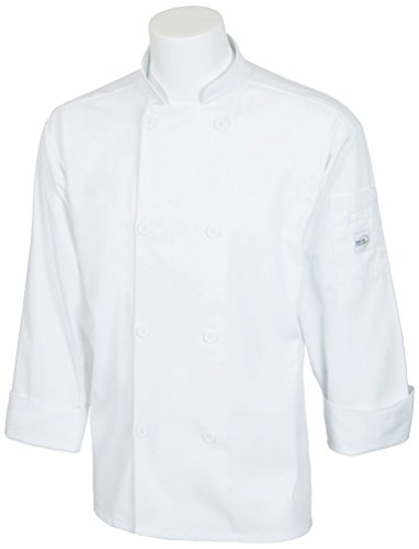 Mercer Culinary M60010WHM Millennia Men's Cook Jacket with Traditional Buttons, Medium, White