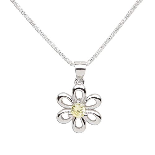 Girls Sterling Silver Daisy Simulated November Birthstone Necklace for Children ()