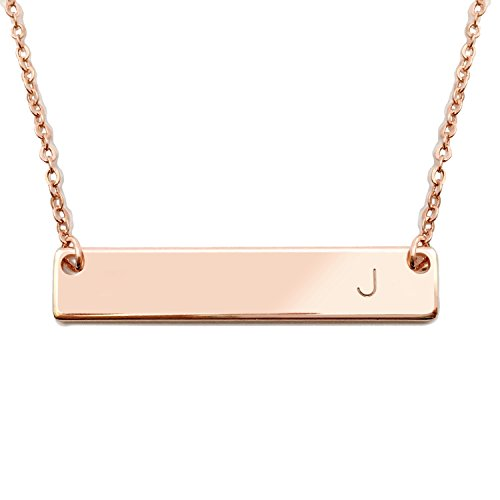 18K Rose Gold Plated Initial Bar Necklace Mothers day Graduation gift 17.5 inch Personalized Bar Necklace (J) - 4N