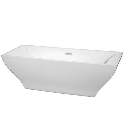 Wyndham Collection WCBTK151871BNTRIM Maryam Freestanding Bathtub with Brushed Nickel Trim, 71