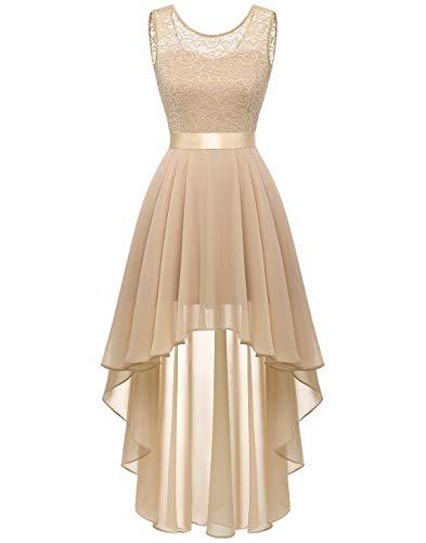 Dames kanten jurk elegante Vokuhila cocktailjurk mouwloos avondjurk chiffon bruidsmeisjesjurk