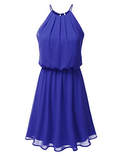 DRESSIS Womens Double Layered Chiffon Mini Tank Dress ROYALBLUE L -