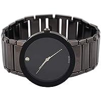 VIGOROSO Mens Fashion Casual Popular Dress Stainless Steel All Black Wrist Watch