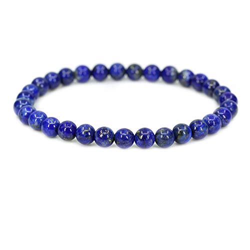 Amandastone Natural A Grade Lapis Lazuli Gemstone 6mm Round Beads Stretch Bracelet 7