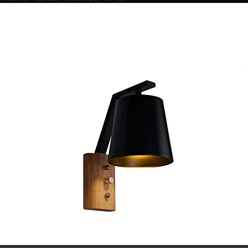 Led Wall Light E27 Industrial Retro Chandelier Minimalist Wall Lamp of Wood from Iron Forged Bedside Lamp Woodstairs Walk Lights, D13H12 Centimeters, ()