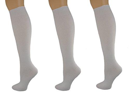 (Sierra Socks Girls School Uniform Knee High 3 pair Pack Cotton Socks G7200 (S/Shoe Size 9-1, White))