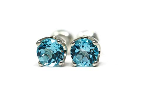 Swiss Blue Topaz December Birth Month 5mm Stud Earrings (Sea Blue Studs)