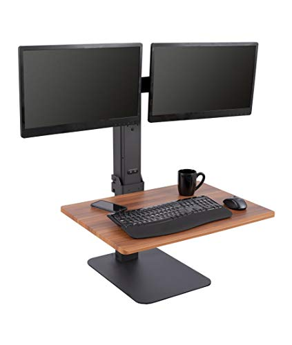 - Stand Up Desk Store 28 Inch Power Rise - Electric Adjustable Standing Desk Converter with Dual Monitor Mount - Turns Any Desk Into a Standing Desk (Black or Teak) (28