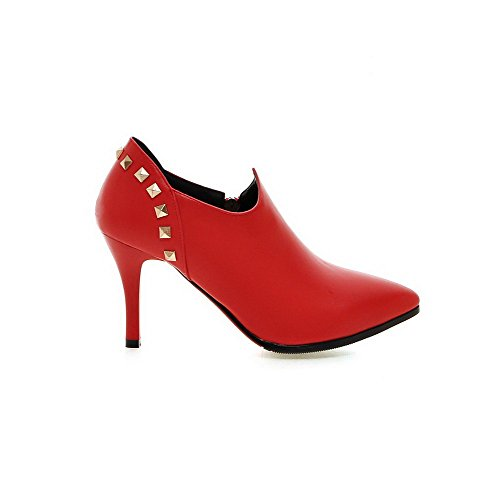 AmoonyFashion Ankle high High Heels Boots Material Red Soft Solid Chains Women's r4qrw7H