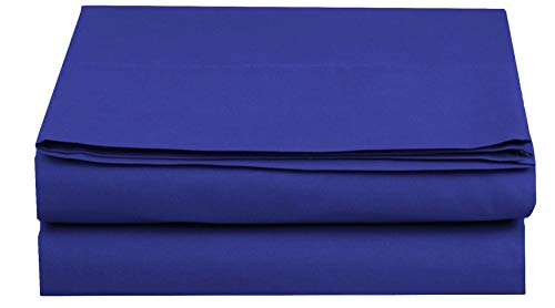 (Elegant Comfort  Premium Hotel 1-Piece, Luxury and Softest 1500 Thread Count Egyptian Quality Bedding Flat Sheet, Wrinkle-Free, Stain-Resistant 100% Hypoallergenic, Queen, Royal Blue)