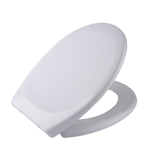 Seat Softclose Oval Elongated (Acazon Elongated Round Toilet Seat Economy Molded, Quick-Release for Easy Cleaning White Soft-Close Fits All Oval Longated Toilets (US STOCK) (Round))