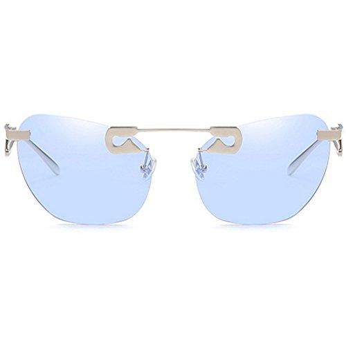 en Aiweijia rétro Bleu en sans de métal mode et soleil cadre jambes femmes de forme Lunettes Z hommes rpfpt