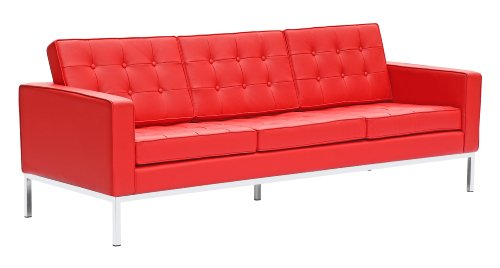 Fine Mod Imports Button Leather Sofa, Red