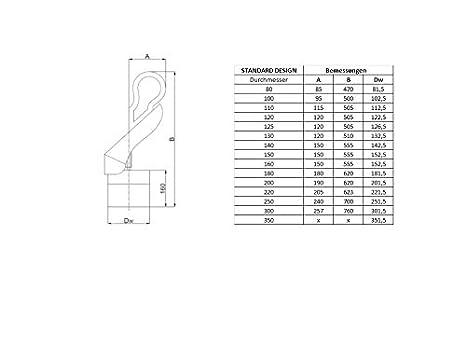 Schornsteinaufsatz Kaminaufsatz SWING /Ø 80-350 mm aus Edelstahl mit Bodenplatte Hahn-Design /Ø 120mm