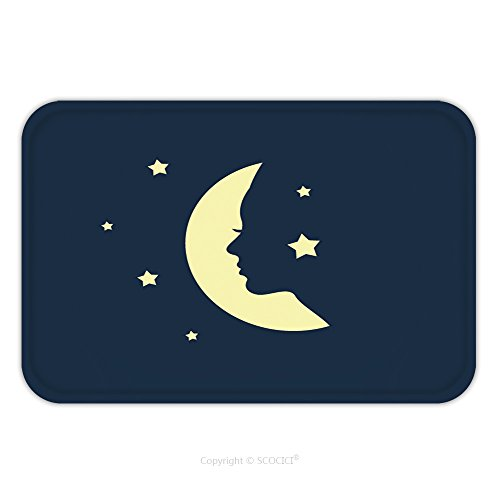 Flannel Microfiber Non-slip Rubber Backing Soft Absorbent Doormat Mat Rug Carpet Woman Face In A Shape Of Moon Vector 451724056 for - Female Shapes Face