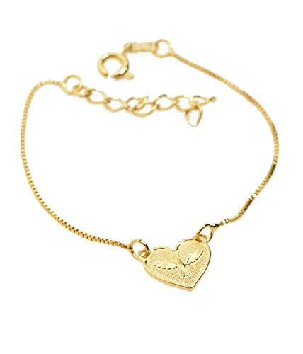 Holy Spirit Gold Plated Link Chain Bracelet - Made in Brazil
