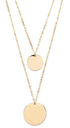 Double Happiness Circle Necklace - Circle Layered Necklace Gold Plated | Double Row Necklace with 2 Round Disc Pendants