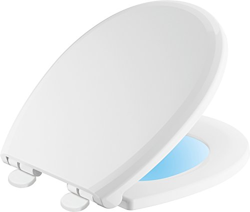 Round Light Night (Delta Faucet 803902-N-WH Sanborne Round Nightlight Toilet Seat with Slow Close and Quick-Release, White)