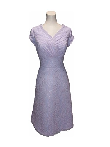 Venus Kailee Lace Knee Length Short formal with Cap Petal Sleeves (12, Lilac Purple) (Venus Special Dress Occasion)
