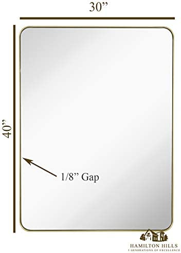 Hamilton Hills Contemporary Brushed Metal Wall Mirror