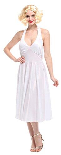 [La Vogue Marilyn Monroe Costume Halterneck Dress Hollywood Starlet Costume White] (Hollywood Starlet Dress Costumes)