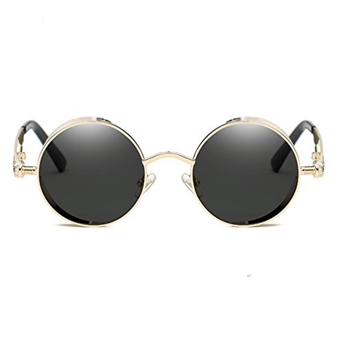 Armear Gothic Steampunk Round Mirrored Sunglasses Women Men Trendy Metal Frame (Gold metal, - Trendy Glasses Men