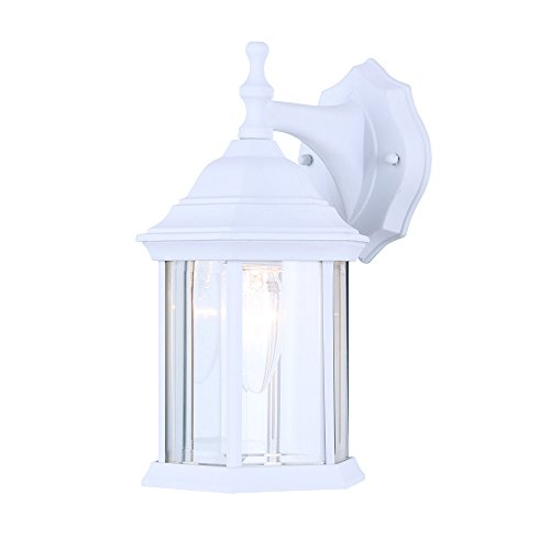 Light Wall Beveled (Exterior Outdoor Light Fixture Wall Lantern Sconce Clear Beveled Glass, White Finish)