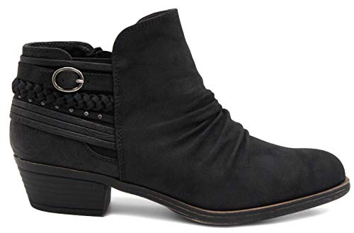 Boot Rampage Dress Detail Women's Bootie Studs Zipper Buckle and Braid Black with Side Ladies Block Ankle Heel Slouch Tyra and qqBRP0